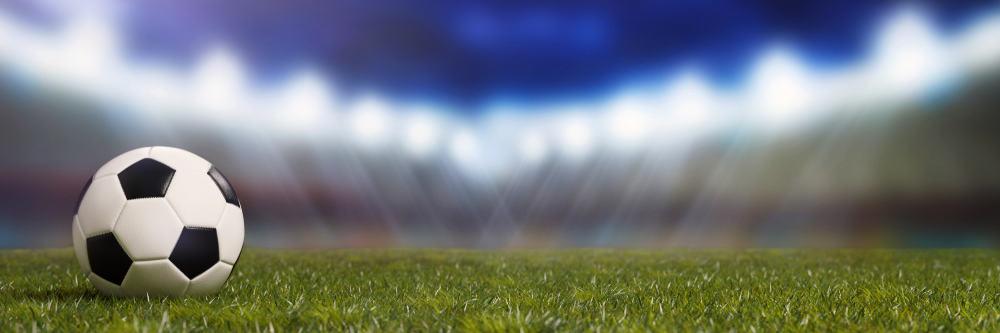 A close shot of a soccer field.