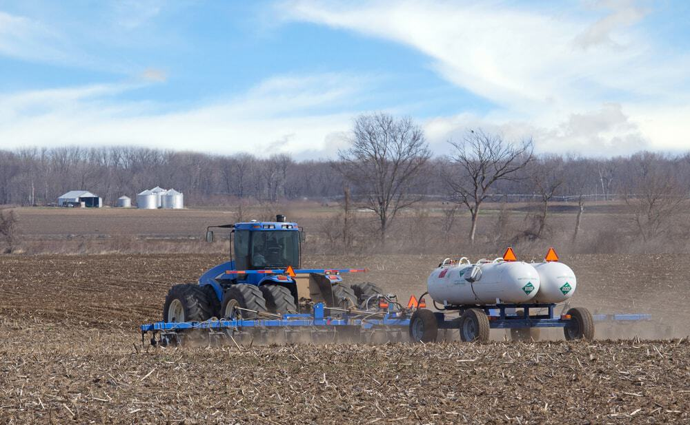 Ammonia is commonly used in agriculture. It contributes to the air pollution problem.