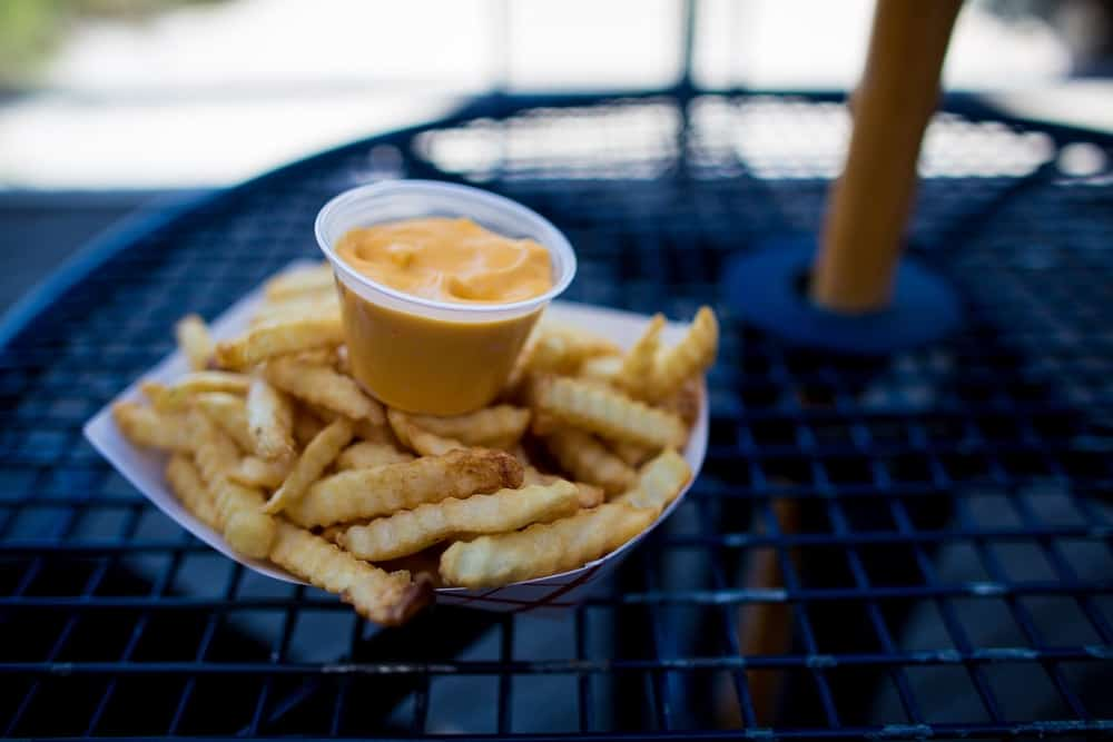 Boardwalk fries with cheese dip.