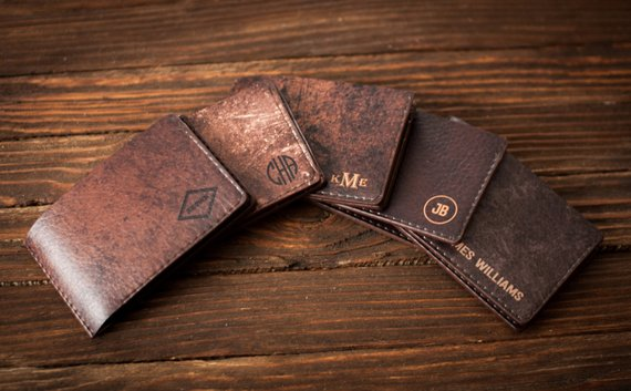 Brown leather wallets for men.