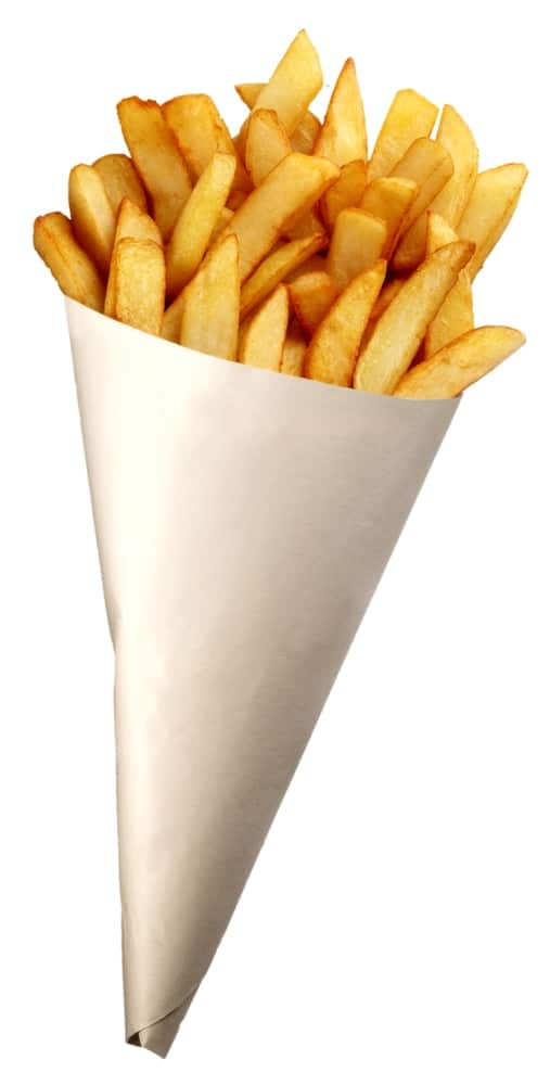 British chips in a paper cone.