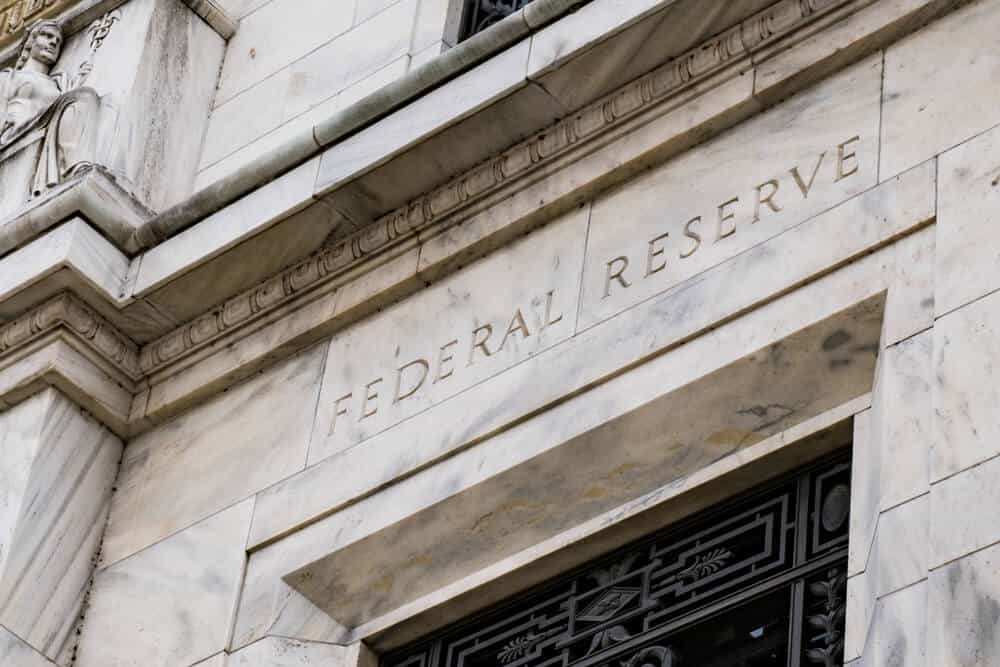 Entrance of the federal reserve building of USA.