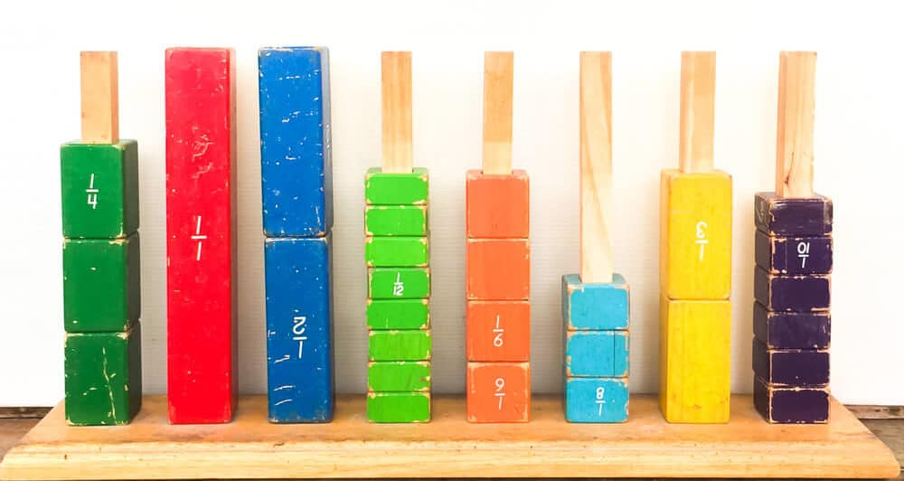 Colorful fraction bars made of wood.