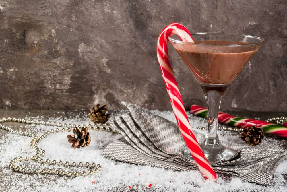 A Mocha martini paired with a peppermint candy.