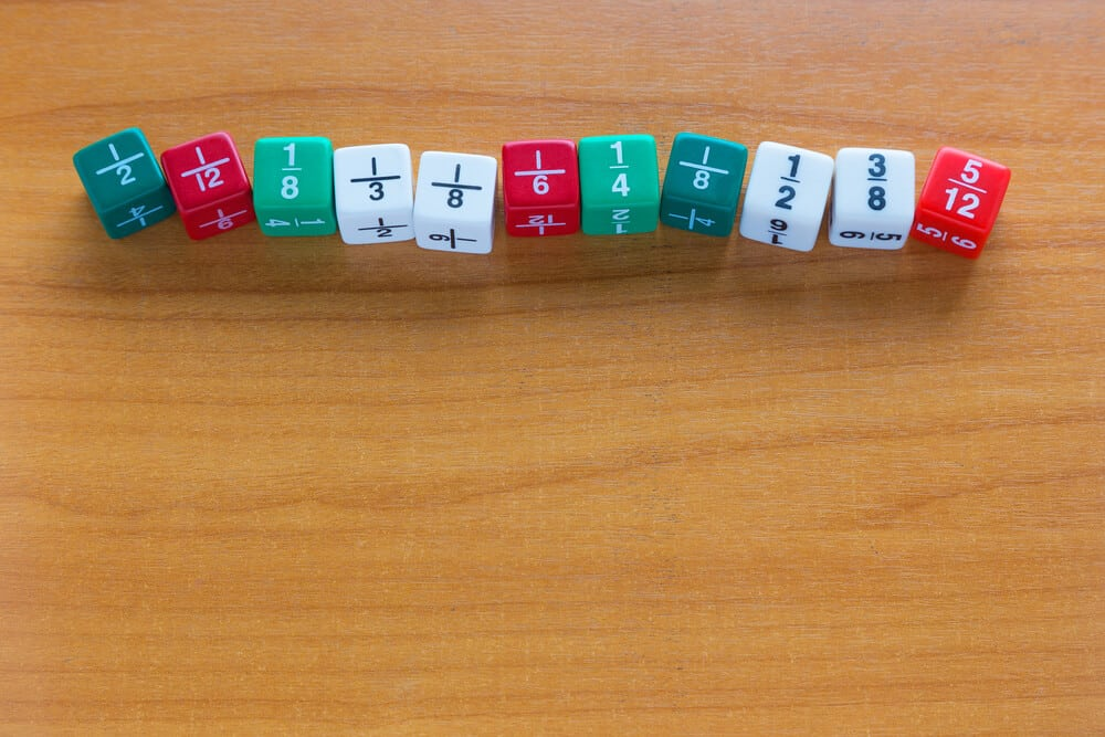 Proper fractions on some dice.
