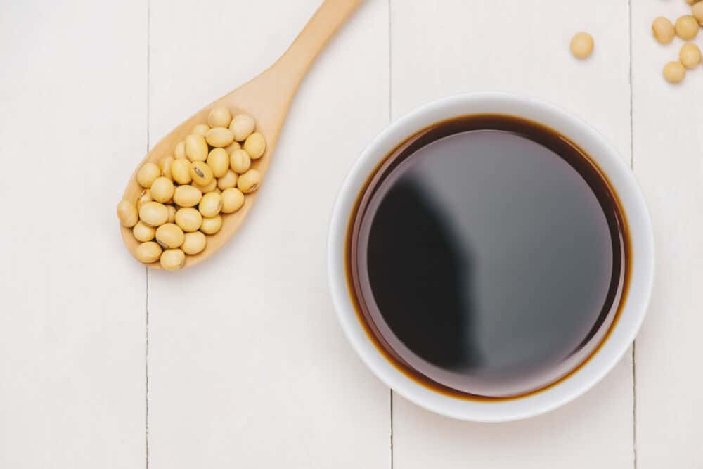 Fresh soy sauce from soy beans.