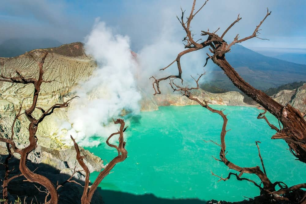 A volcano in Indonesia is emitting sulfur dioxide which contributes to air pollution.