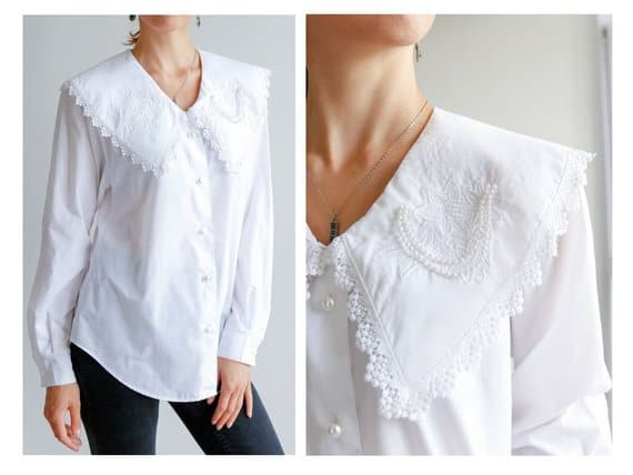 White blouse with bertha collar.