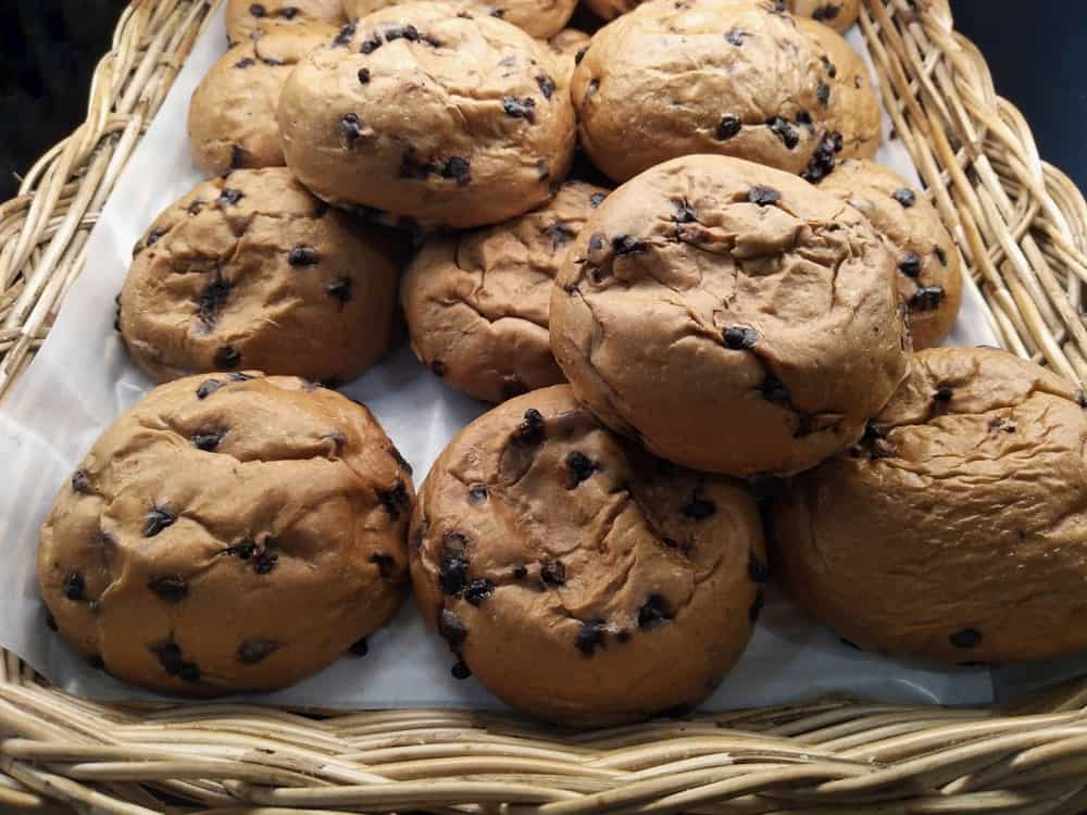 Chocolate chip cookies on a basket.