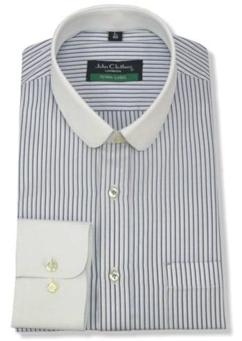 Striped shirt with club collar on white background.