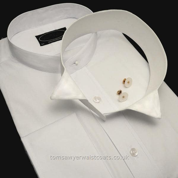 White shirt with detachable collar on black background.