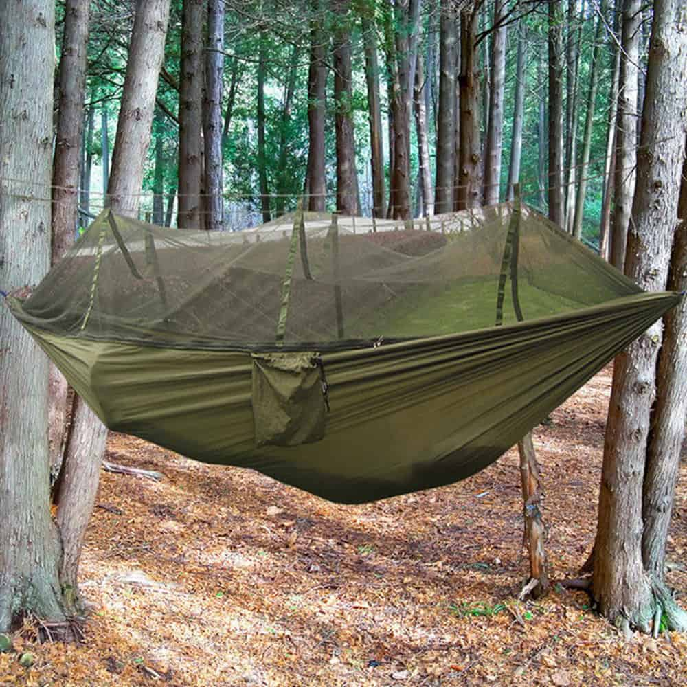 Dark green hanging hammock tent.
