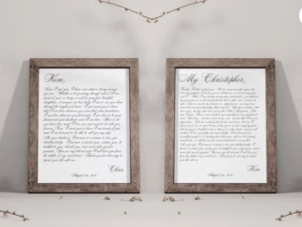 Framed wedding vows as wedding ring alternative