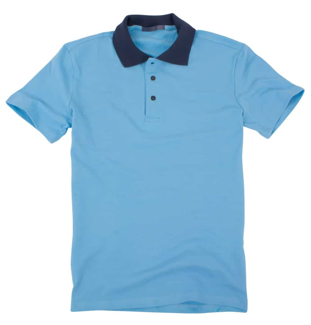 Blue polo shirt with flat collar on white background.