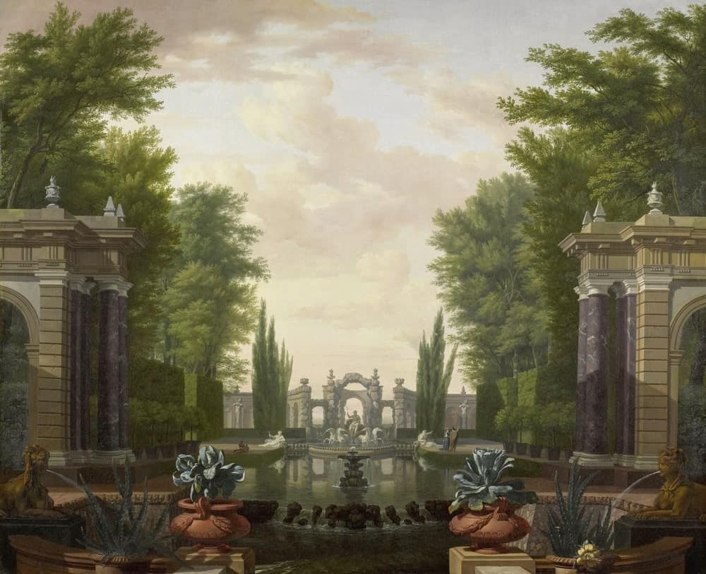 Painting of a courtyard garden with trees and fountain.