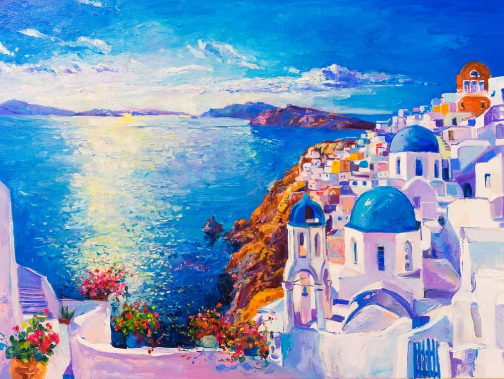 Painting of the stucco houses overlooking the blue sea in Santorini, Greece.