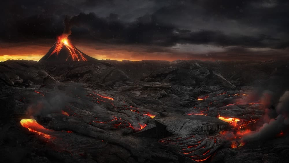 Lava as it oozes out of a volcano
