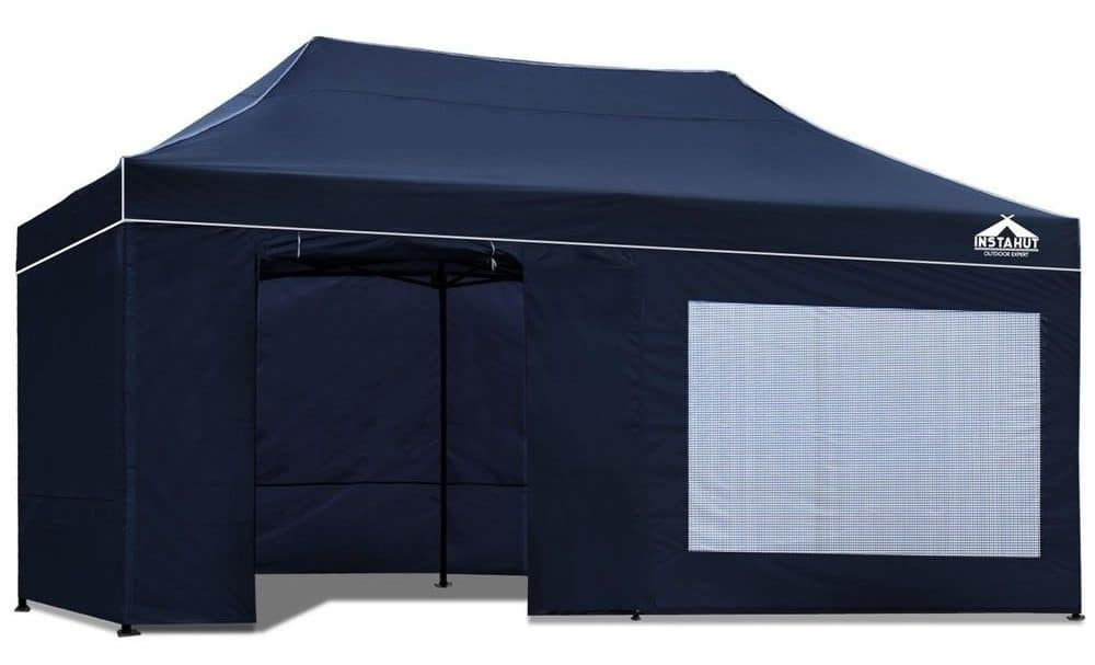 Navy blue gazebo tent made of PVC-coated fabric.