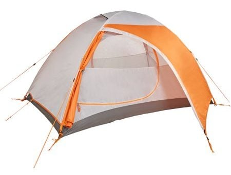 Orange and white backpacking tent.