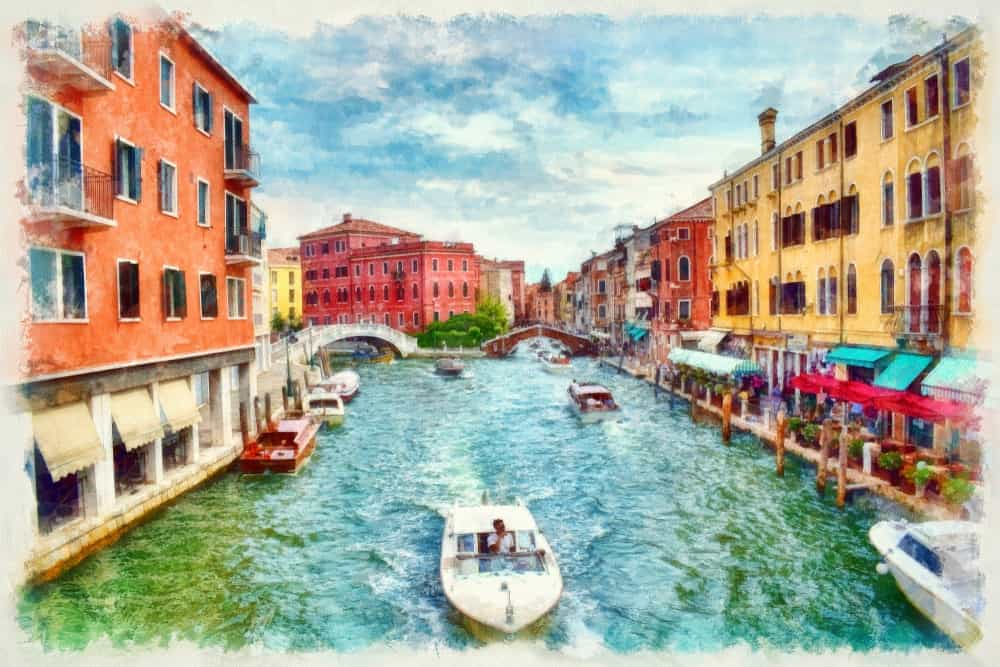A picturesque painting of the Venice Canal in Italy.