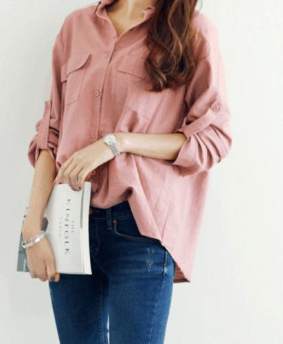 Korean-style, loose top in Pink.