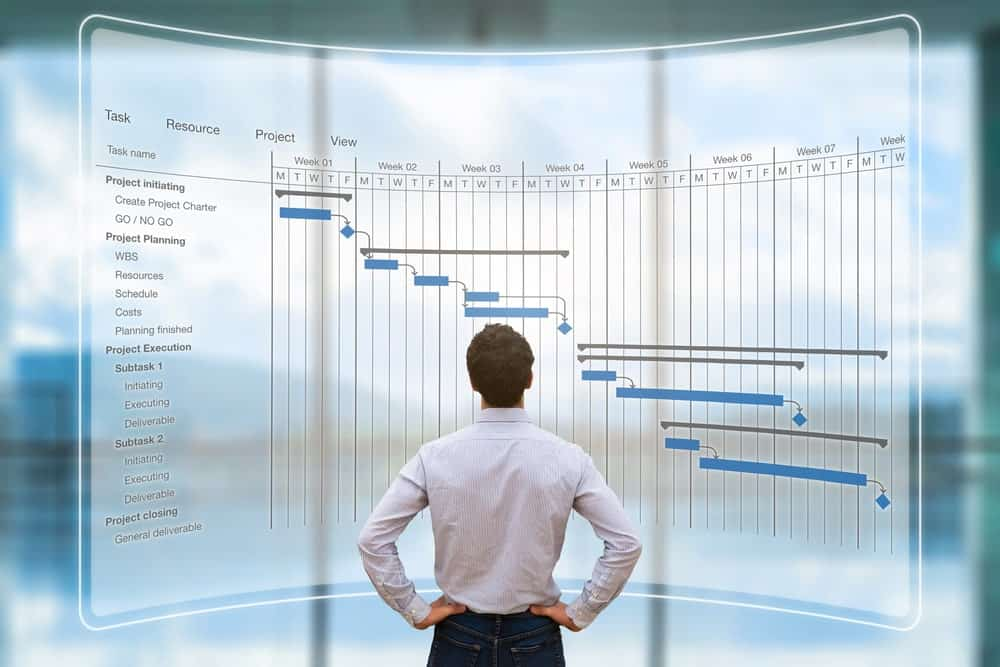 Back view of a man wearing long sleeves with his hands on his waist as he looks up at a large digital screen of charts.