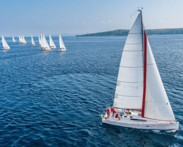 A sail boat with white mast leads the way ahead of its competitors.