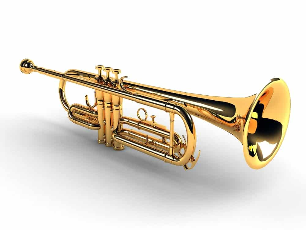 Slide trumpet on white background.