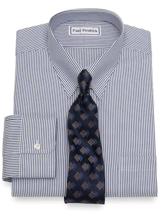 Striped shirt with tab collar and blue tie.