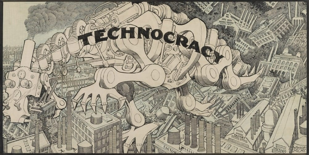 Pessimistic cartoon rendition of the idea of technocracy with monster machine destroying everything in its path.