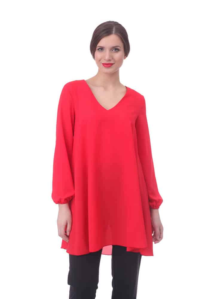 Bright red tunic top.