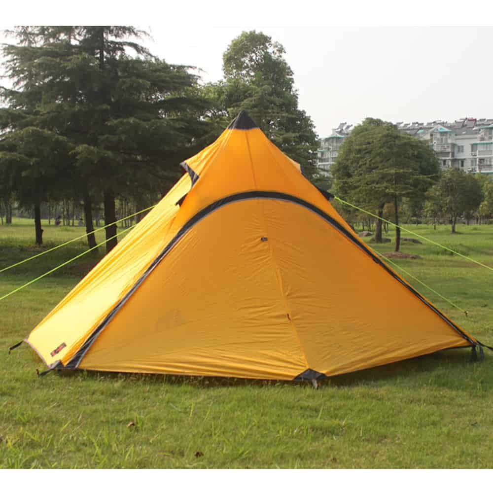 Yellow, waterproof nylon tent.
