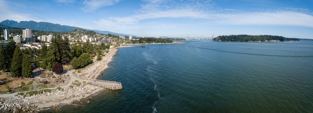 Aerial photograph of Ambleside Beach in West Vancouver