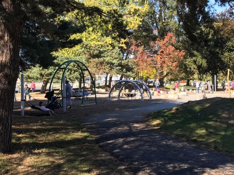 The playground at Ambleside Beach in West Vancouver, British Columbia