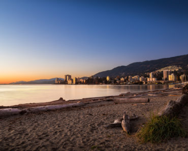 Beautiful sunset of Ambleside Beach in West Vancouver
