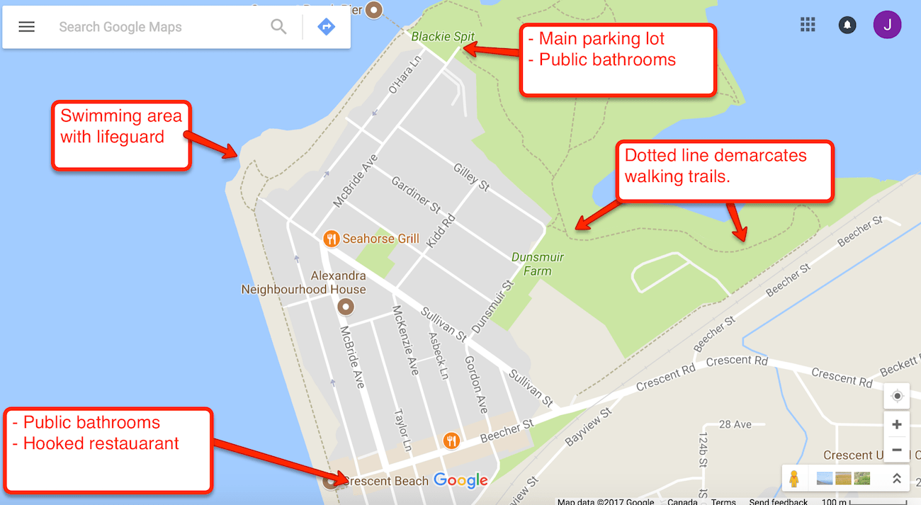 Crescent Beach, South Surrey Parking and Bathroom Map