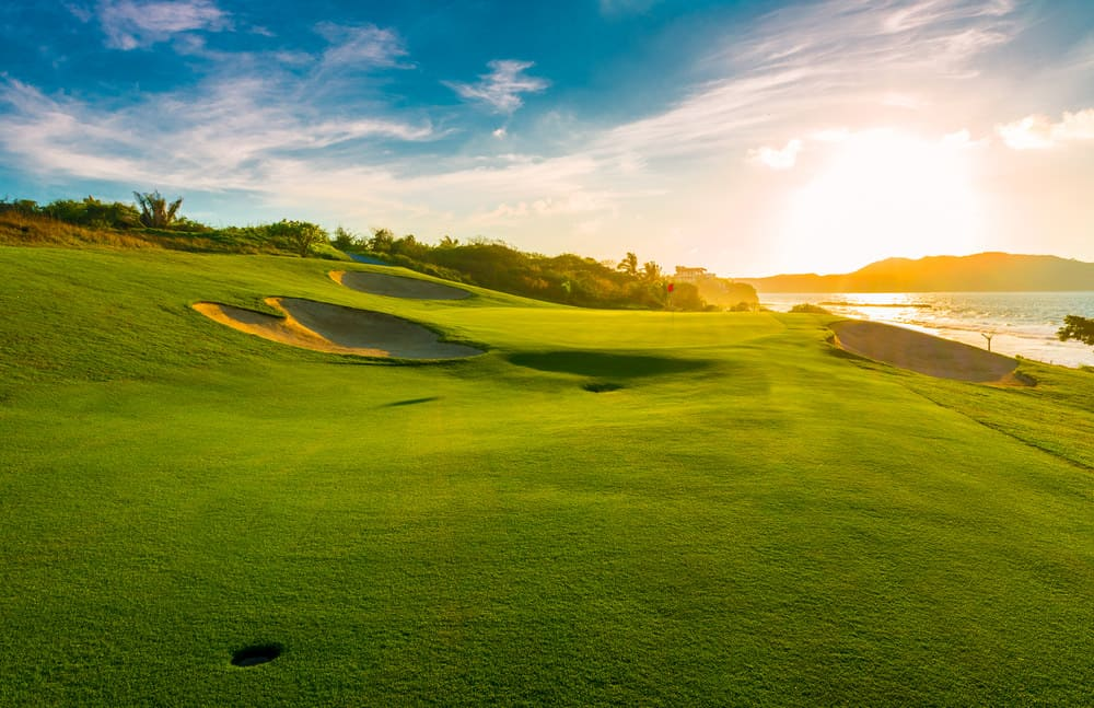 Oceanside golf course at sunset