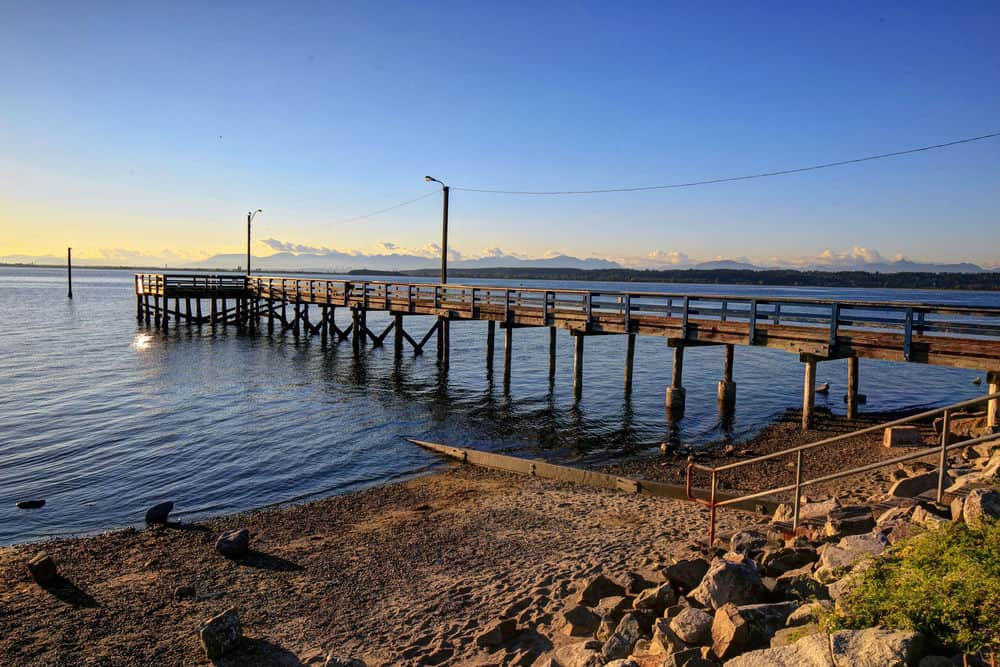 Close up of the pier at Crescent Beach in South Surrey, British Columbia