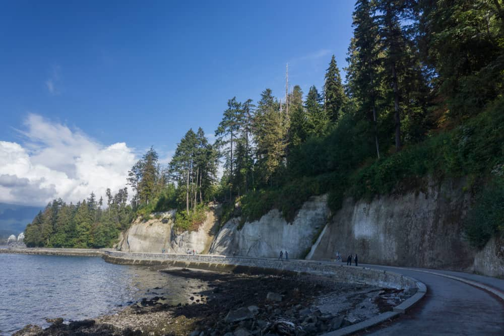 Check out the dramatic cliffs towering up from the Seawall.
