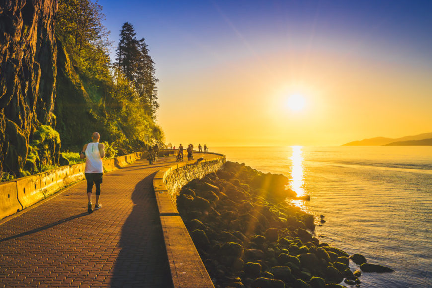 Sunset along the Stanley Park Seawall in Vancouver, BC