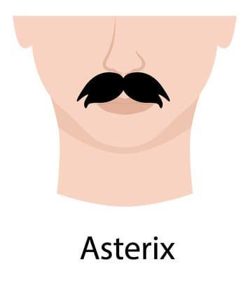 Asterix style moustache