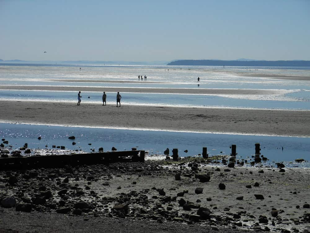 The huge sandy beach in the Summer at Crescent Beach in South Surrey, BC