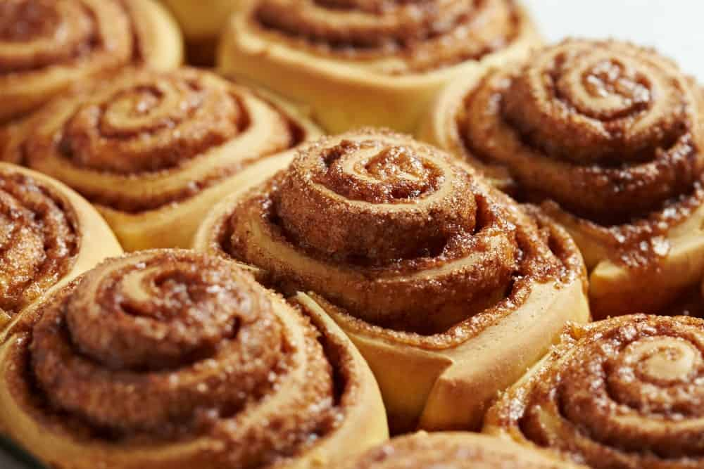 Closeup of cinnamon rolls.