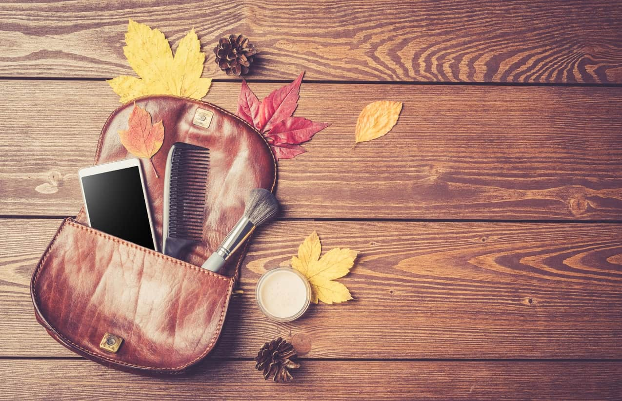A cosmetic bag with mobile phone, comb, and makeup brush surrounded by autumn leaves on wooden background.