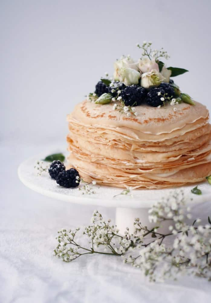 Crepe cake with blueberries.