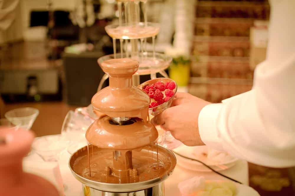 Chocolate fondue on a wedding ceremony.