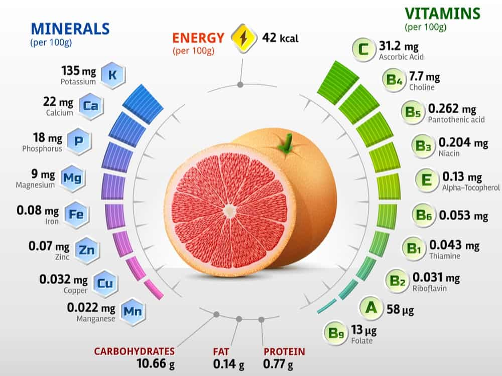 Grapefruit Nutrition Facts Chart