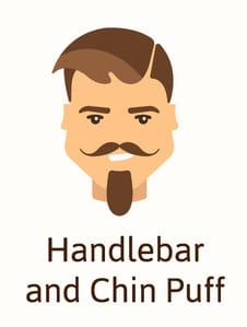 Handlebar and chin puff beard style