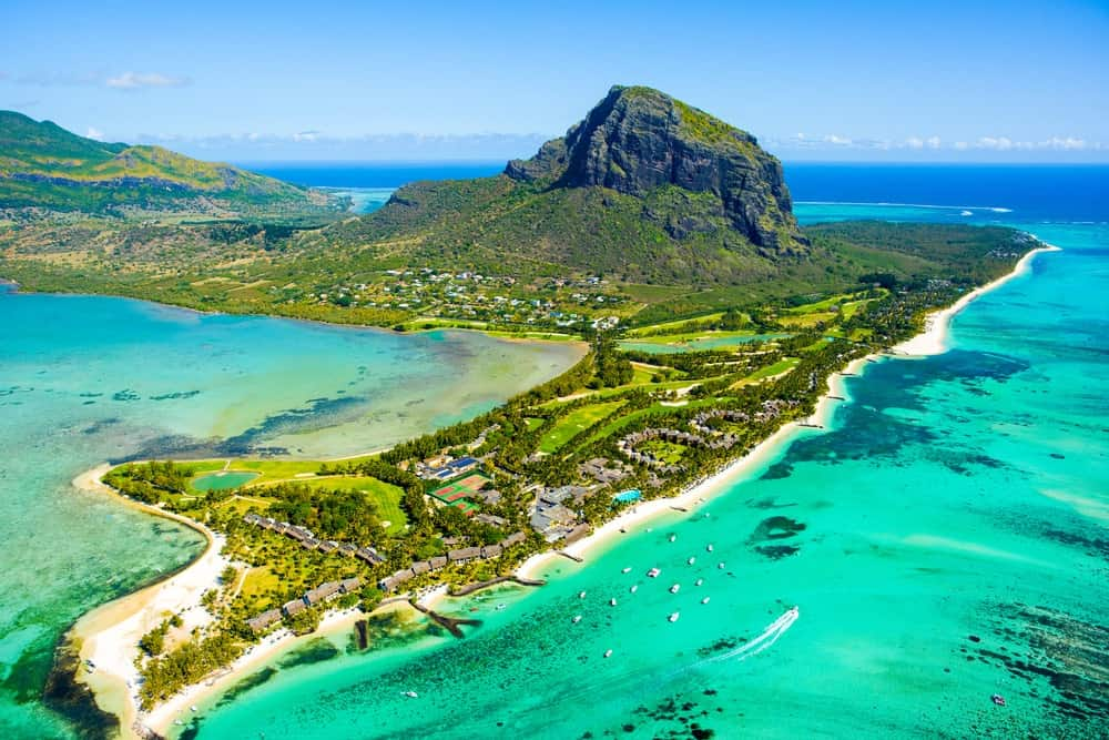 Aerial view of Mauritius island.