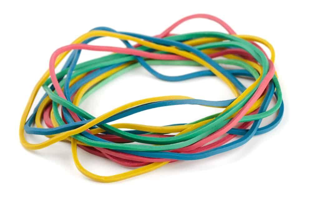 Multicolored rubber bands